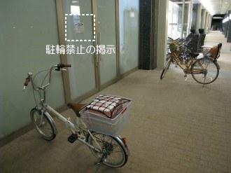 デリド武蔵小杉店 駐輪禁止の掲示