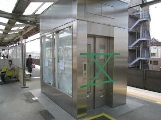武蔵中原駅のエレベーター・立川方面ホーム